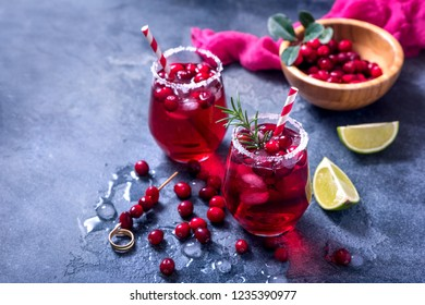 Cranberry cocktail, winter festive cold drink, punsh
