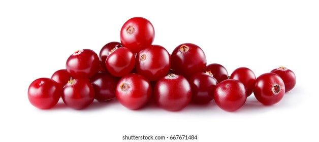 Cranberry isolated on white background. Fresh raw berries. Full depth of field.