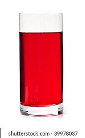 Cranberry juice in clear glass isolated on white background