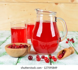 Cranberry juice in a jug on a white table
