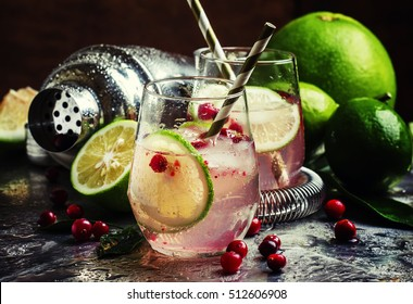 Cranberry lemonade with lime and ice, metallic background, selective focus