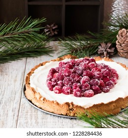 Cranberry meringue with cream cheese for the New Year's table