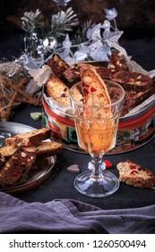 Cranberry-Almond Biscotti. Biscotti served with a glass of wine.