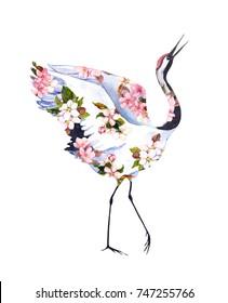 Crane bird in flowers. Watercolor