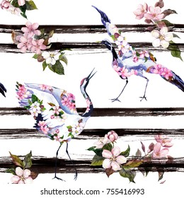 Crane birds with pink spring flowers at monochrome striped background. Seamless floral pattern with cherry blossom, apple lowers. Spring watercolor with black stripes