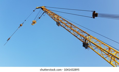 Crane boom and structure take from below of crane at ground level from Offshore platform in Gulf of Thailand