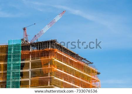 crane building mesh sheet construction site stock photo edit now