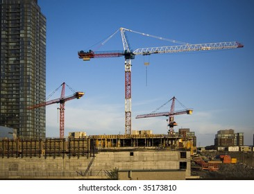 crane and building under construction  / under construction