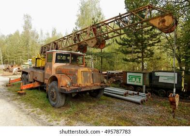 Crane car. Historical crane in the mining museum. Czech Karst, near Prague, Czech Republic. September 2016