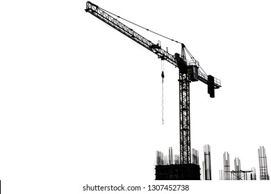 Crane construction over building site on white background