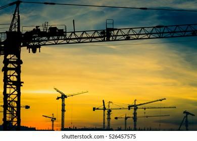 Crane construction site silhouette