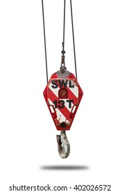 Crane hoist and hook with wire rope sling isolate on white background,clipping path