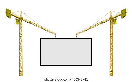 crane hoisting label advertise isolate on white backgrounds