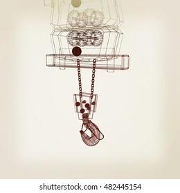 Crane hook. 3D illustration. Vintage style.