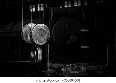 crane hook in the train factory - monochrome