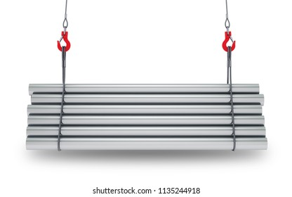 Crane hooks with stack of steel metal tubes isolated on white background with clipping path. 3d rendering