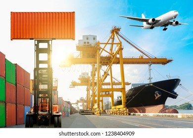 Crane lifting up container and ship cargo with airplane flying in sky. concept export and import and logistics.