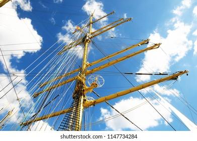 Crane masts of a vey big sailing ship