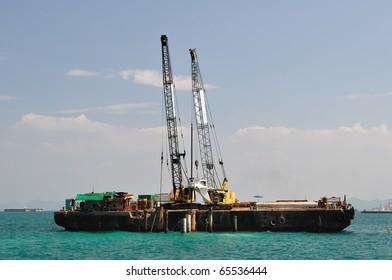 Crane on the sea