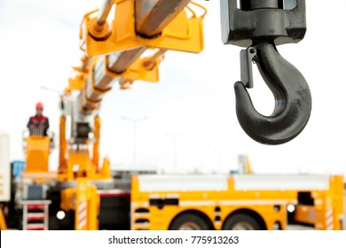 crane operator works in construction site