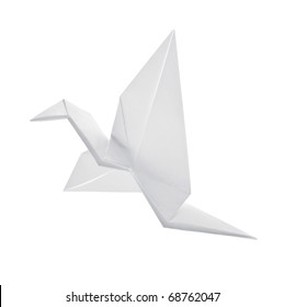 Crane from paper flies on white background