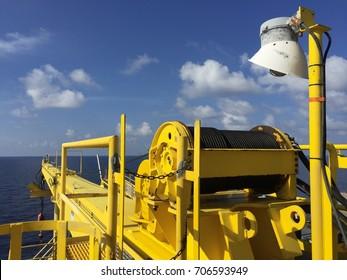 Crane in the sea