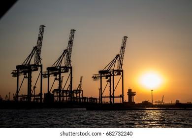 Crane at sea port