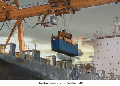 Crane Shipping container.Industry and Transportation concept.