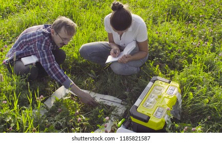 Crane shot, top view. Two ecologist examining plants on the meadow. Woman writing something in the diary. Field work