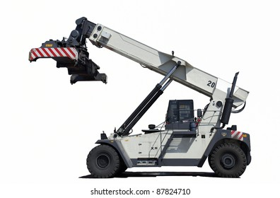 Crane truck for container handling.