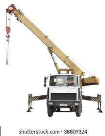 Crane truck under the white background