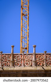 Crane used for maintenance work on the cathedral of Santiago de Compostela, in Galicia (Spain)