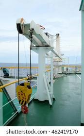 Crane, Crane winch, Steel wire rope drum on crane tanker ship.