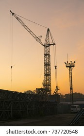 Crane work, in the morning.