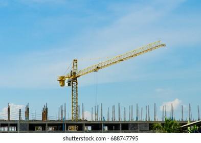 Crane work under Construction Building.