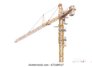 Crane,Construction Tower Crane on White Background,Technology equipment for transportation for bring construction materials to over or high construction site.