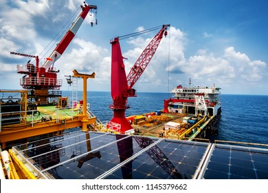 Crane,Offshore crane,Pedestal crane in oil and gas industry offshore for transfer material or worker.