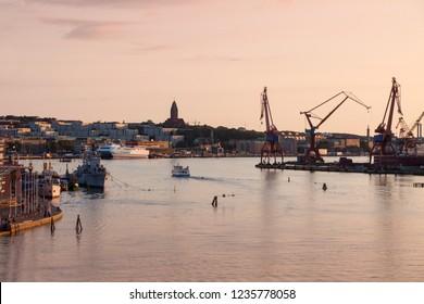 Cranes in Gothenburg. Gothenburg, Vasstergotland and Bohuslan, Sweden.