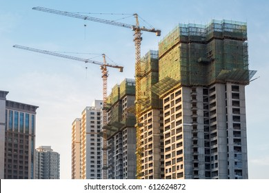 cranes on city construction site in the commodity house, China