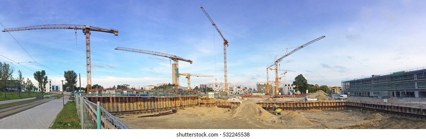 cranes on construction sight