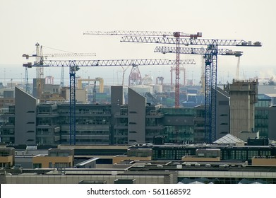 Cranes on the construction site of residential buildings in Dublin, Ireland