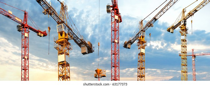 cranes in panoramic picture