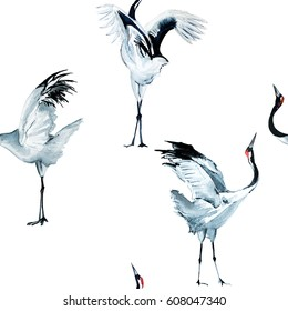 Cranes pattern watercolor
