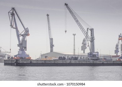 Cranes in the Port in Hamburg, Germany