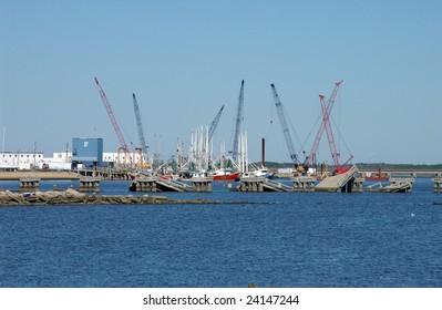 Cranes rebuilding a bridge after Katrina, Biloxi, Mississippi, USA