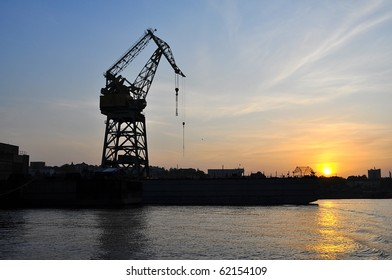cranes silhouette at sunset by the sea