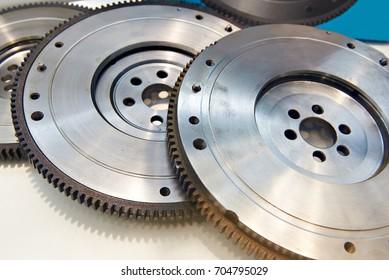 Crankshaft flywheels in car repair shop