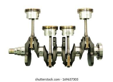 Crankshaft with pistons on white background.