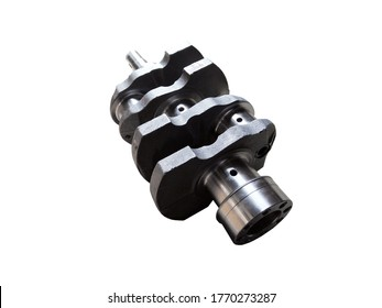 Crankshaft of a two-cylinder tractor engine on an isolated white background. Spare parts.