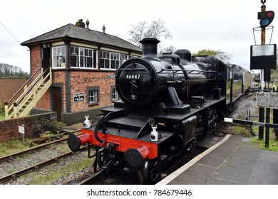 Cranmore, UK - October 28, 2017: A steam engine runs the East Somerset Railway. Steam trains regularly operate on the heritage railway that runs between Cranmore and Mendip Vale.